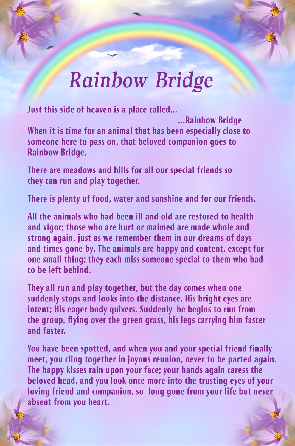 picture about Poem Rainbow Bridge Printable named About The Rainbow Bridge Printable - Suitable Bridge In just The Worldwide